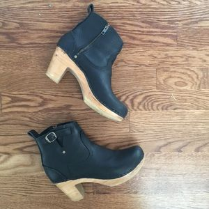 No. 6 black leather clog boots
